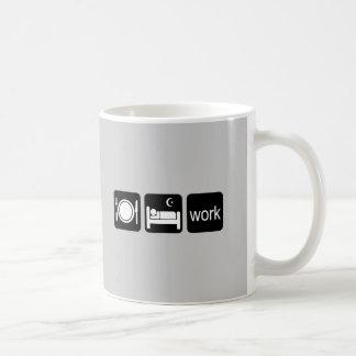 Coma el trabajo del sueño taza de café