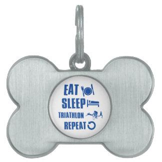 Coma el Triathlon del sueño Placas De Mascota