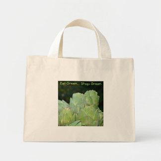 Coma el verde - tote de las compras de la alcachof bolsa tela pequeña