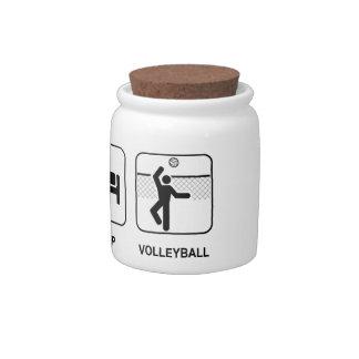 Coma el voleibol del sueño jarra para caramelo