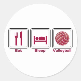 Coma el voleibol del sueño pegatina redonda