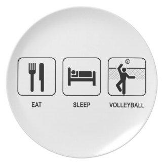 Coma el voleibol del sueño plato de comida