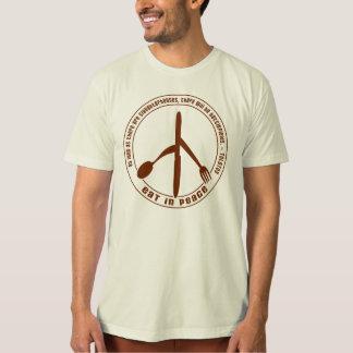 Coma en camiseta del vegano de la paz poleras