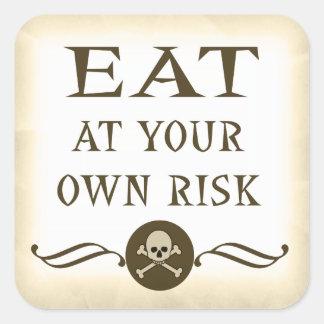 Coma en sus propias etiquetas de advertencia de pegatinas cuadradas personalizadas