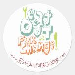 Coma hacia fuera para un pegatina del cambio
