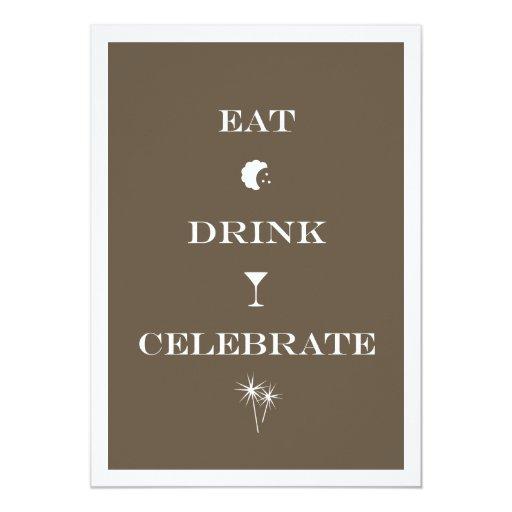 """Coma la bebida celebran al fiesta marrón de la invitación 5"""" x 7"""""""
