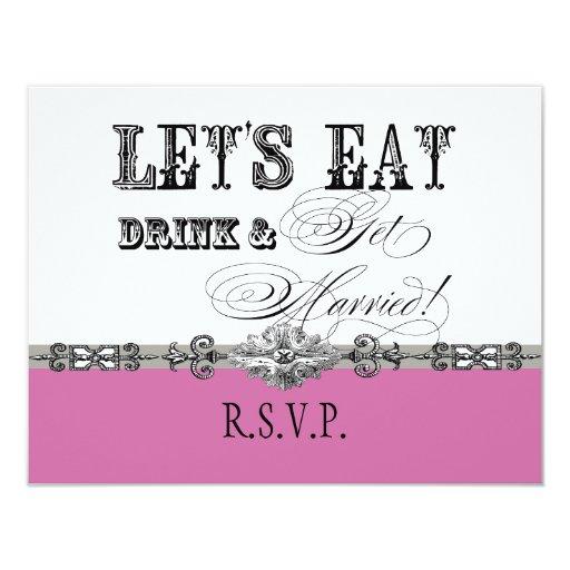 """Coma, la bebida n consiguen la tarjeta formal invitación 4.25"""" x 5.5"""""""