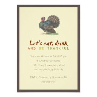 """Coma la bebida sea acción de gracias agradecida invitación 4.5"""" x 6.25"""""""