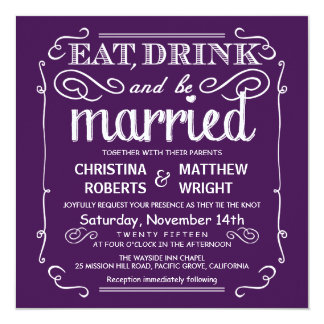 """Coma la bebida sea boda casado invita - a la invitación 5.25"""" x 5.25"""""""