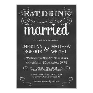 Coma la bebida sea invitación casada del boda de