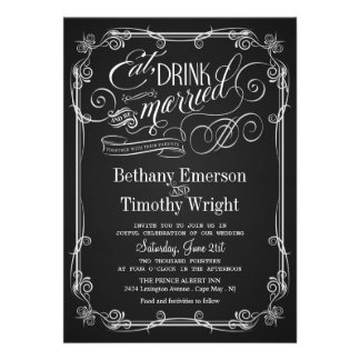 Coma la bebida sea invitación casada del boda de l