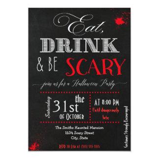 Coma la bebida sea invitación roja asustadiza de
