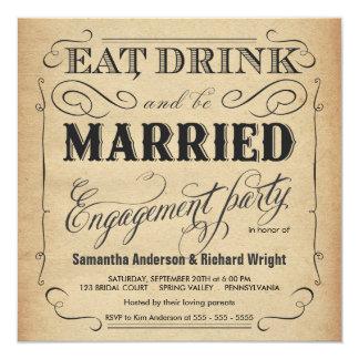 Coma la bebida sea invitaciones casadas del fiesta invitación 13,3 cm x 13,3cm