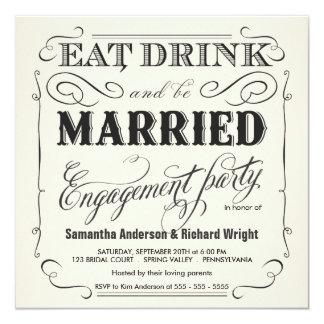 """Coma la bebida sea invitaciones casadas del fiesta invitación 5.25"""" x 5.25"""""""