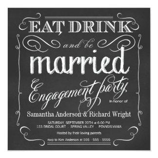 Coma la bebida sea invitaciones casadas del fiesta invitacion personal
