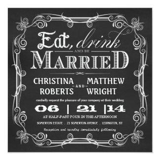 """Coma la bebida sea invitaciones cuadradas casadas invitación 5.25"""" x 5.25"""""""