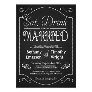 Coma la bebida sea invitaciones de lujo casadas de comunicado personal