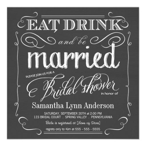 Coma la bebida sea invitaciones nupciales casadas  invitaciones personalizada