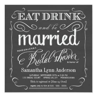 Coma la bebida sea invitaciones nupciales casadas invitación 13,3 cm x 13,3cm