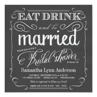 """Coma la bebida sea invitaciones nupciales casadas invitación 5.25"""" x 5.25"""""""