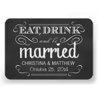 Coma la bebida sea RSVP redondeado pizarra casado Invitaciones Personalizada