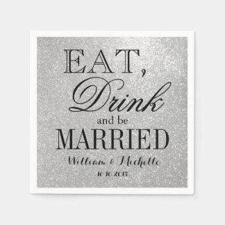 Coma la bebida sea servilleta de plata casada del servilletas de papel