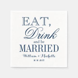 Coma la bebida sea servilletas blancas azules servilleta de papel