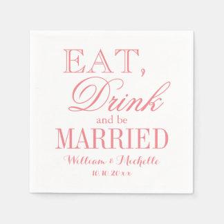 Coma la bebida sea servilletas rosadas coralinas servilleta desechable