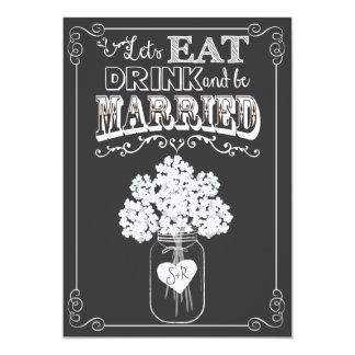 Coma la bebida y consiga la invitación casada de invitación 12,7 x 17,8 cm