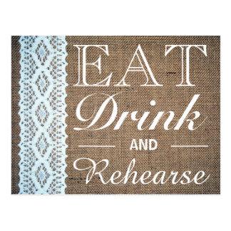 Coma la bebida y ensaye la cena del ensayo del postales