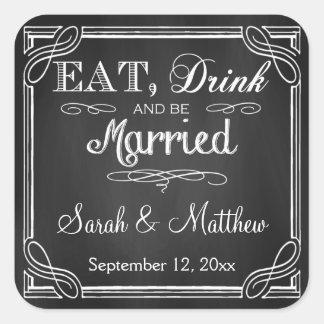 Coma la bebida y esté casado casando a los pegatina cuadrada