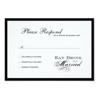 Coma la bebida y esté casado casando el rsvp invitación 8,9 x 12,7 cm