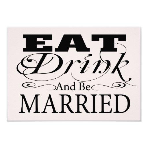 """Coma la bebida y esté casado casando RSVP Invitación 3.5"""" X 5"""""""
