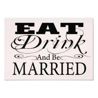 Coma la bebida y esté casado casando RSVP Invitación Personalizada