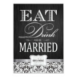 Coma la bebida y esté casado con damasco negro y invitaciones personalizada