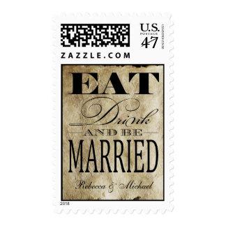 Coma la bebida y esté casado - fondo del vintage sello postal