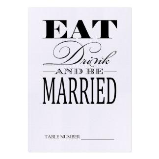 Coma la bebida y esté casado, las tarjetas de lino tarjetas de visita grandes