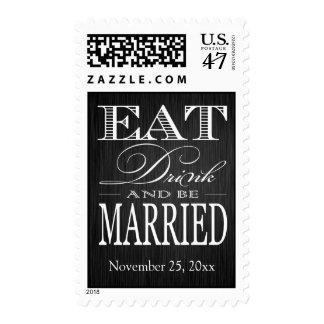 Coma la bebida y esté casado - negro elegante y timbre postal