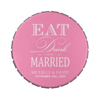 Coma la bebida y esté casado - rosa y blanco de Bu Latas De Dulces