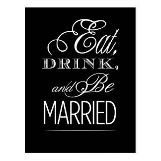Coma la bebida y esté casado tarjeta postal