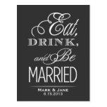 Coma la bebida y esté casado tarjetas postales