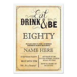 """Coma la bebida y sea 80 o cualquier fiesta de invitación 5"""" x 7"""""""