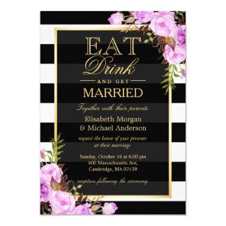 """COMA la bebida y sea boda floral púrpura casado Invitación 5"""" X 7"""""""