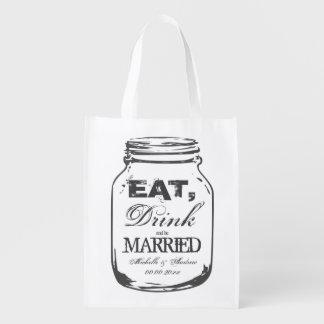 Coma la bebida y sea bolsos reutilizables casados bolsa reutilizable