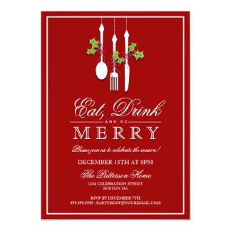 """Coma la bebida y sea celebración de días festivos invitación 5"""" x 7"""""""
