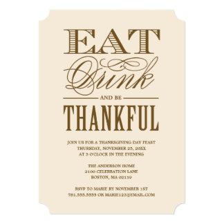 """Coma la bebida y sea cena agradecida de la acción invitación 5"""" x 7"""""""