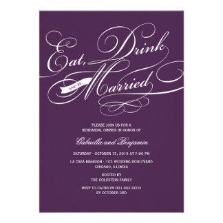 Coma la bebida y sea cena casada del ensayo invita