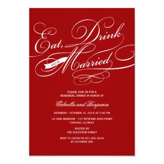 Coma la bebida y sea cena casada del ensayo invitacion personalizada