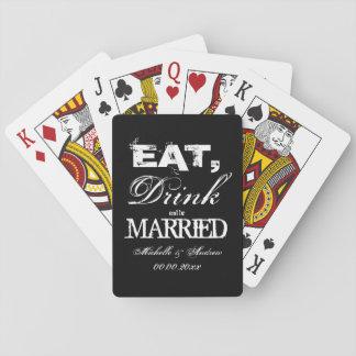 Coma la bebida y sea favores de banquete de boda cartas de póquer