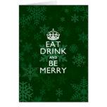 Coma la bebida y sea feliz acento verde guardan tarjeta de felicitación